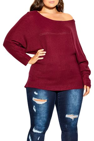 City Chic Plus Size Women's Romance Oversize Off The Shoulder Sweater