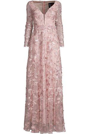 Mac Duggal Women's Floral Applique Net Long-Sleeve A-Line Gown - Rose - Size 18