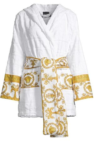 VERSACE Women's Barocco Wrap Robe - Bianco - Size XL
