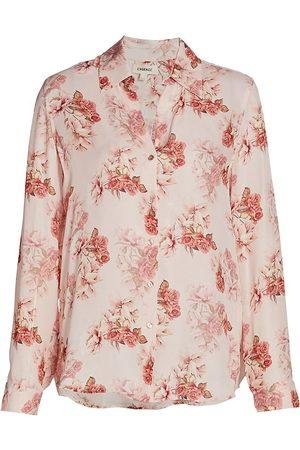L'Agence Women's Nina Floral Silk Blouse - Blush Rose - Size XS