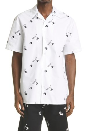 OFF-WHITE Men's Allover Logo Button-Up Cotton Camp Shirt