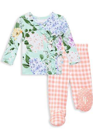 Posh Peanut Baby Girl's Erin 2-Piece Floral Kimono Shirt & Plaid Footed Jogger Set - Erin - Size Newborn