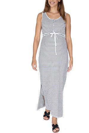 Angel Maternity Women's Stripe Drawstring Maternity/nursing Maxi Dress