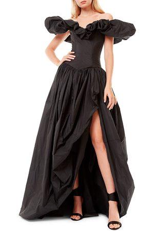 Zuhair Murad Women's Off-The-Shoulder Ruffle Taffeta Slit Gown - - Size 12
