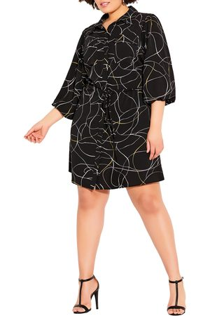 City Chic Plus Size Women's Abstract Shirt Dress