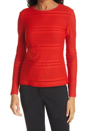 FUZZI Women's Open Weave Crewneck Sweater