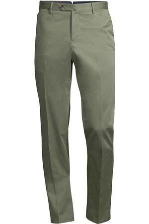 PT01 Men's Slim-Fit Stretch Flat-Front Trousers - Sage - Size 36