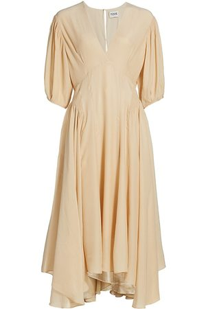Tove Women's Veda Silk Midi Dress - Buff - Size 8