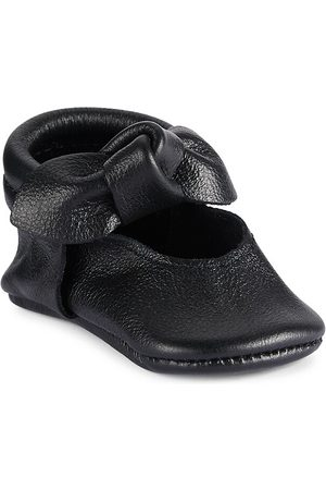 Freshly Picked Baby Girl's Knotted Bow Mini Sole Moccasins - Ebony - Size 3 (Baby)