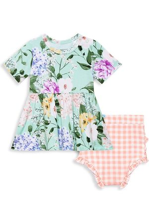 Posh Peanut Baby Girl's Erin 2-Piece Floral Short-Sleeve Peplum Top & Plaid Bloomer Set - Erin - Size 18 Months