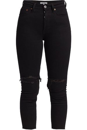 RE/DONE Women's 90s High-Rise Distressed Ankle Crop Jeans - Jet - Size 25