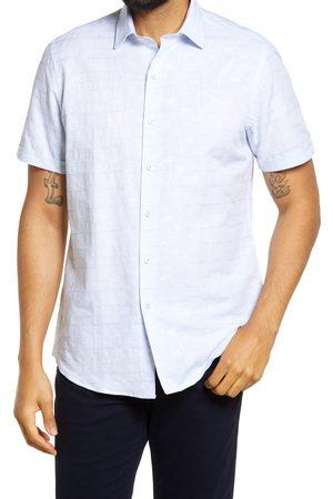 Bugatchi Men's Palm Tree Print Short Sleeve Button-Up Linen Shirt