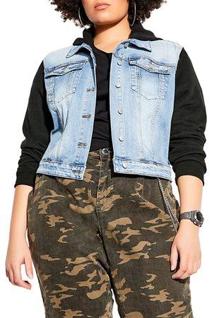 City Chic Plus Size Women's Street Crop Hoodie Denim Trucker Jacket