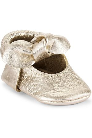 Freshly Picked Baby Girl's Platinum Knotted Bow Moccasins - Rose Quartz - Size 2 (Baby)
