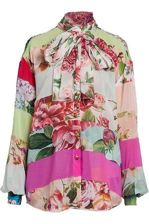Dolce & Gabbana Women's Mixed Print Silk Tieneck Oversized Blouse - Size 10