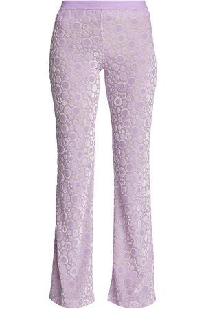STINE GOYA Women's Joy Andy Velvet Devoré Flare Pants - Dots Lilac - Size XL