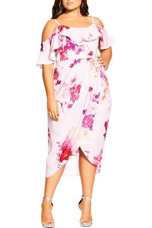 City Chic Plus Size Women's Sakura Love Cold Shoulder Dress