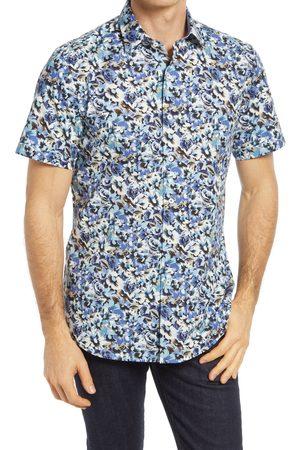 Bugatchi Men's Shaped Fit Floral Short Sleeve Button-Up Shirt