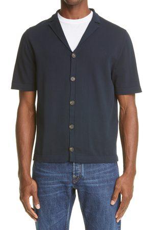 ELEVENTY Men's Short Sleeve Button-Up Bowling Shirt