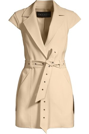 Toccin Women's Sleeveless Belted Jacket - Sand - Size Large