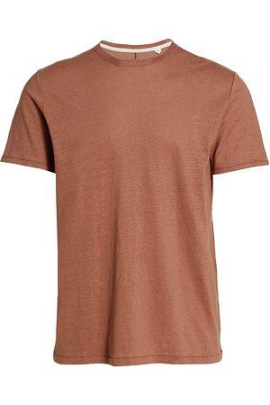 RAG&BONE Men's Linen Cotton Crewneck T-Shirt - Sun Set Mauve - Size XL