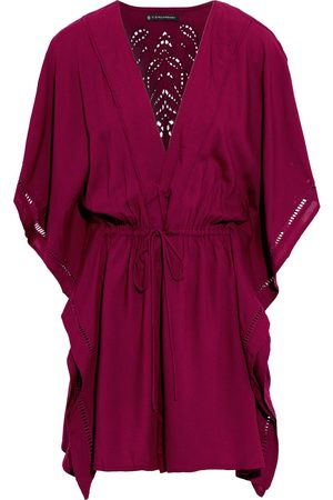 VIX PAULA HERMANNY Woman Crochet-trimmed Broderie Anglaise Voile Coverup Plum Size L