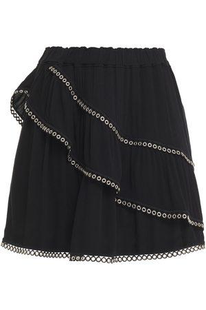 IRO Woman Nisia Eyelet-embellished Layered Crepe Mini Skirt Size 36