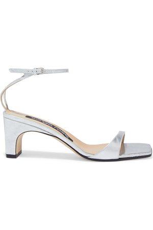 SERGIO ROSSI Woman Sr1 Metallic Textured-leather Sandals Size 36