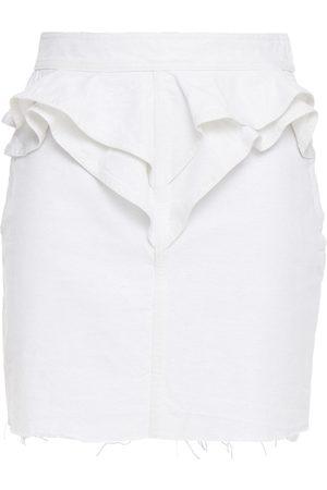 IRO Woman Napola Ruffled Metallic Denim Mini Skirt Size 34