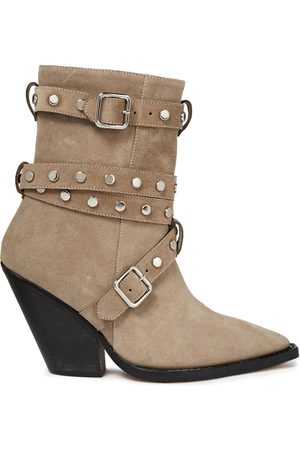 IRO Woman Bonobal Buckled Suede Ankle Boots Mushroom Size 36