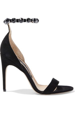 Sergio Rossi Woman Sr Crystal Moon Embellished Suede Sandals Size 36