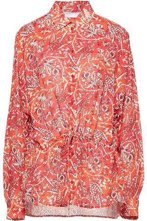 IRO Woman Jacto Gathered Printed Crepe Shirt Tomato Size 40