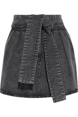 IRO Woman Oleria Belted Acid-wash Denim Mini Skirt Dark Denim Size 34