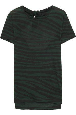 Proenza Schouler Woman Cutout Tiger-print Slub Cotton-jersey T-shirt Dark Size L
