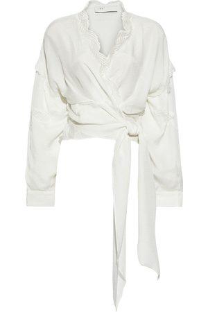 IRO Woman Jarl Lace-trimmed Satin-jacquard Wrap Top Off- Size 32