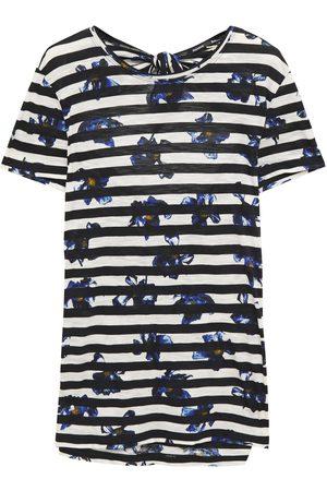 Proenza Schouler Woman Cutout Printed Slub Cotton-jersey T-shirt Cobalt Size L