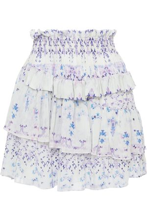 IRO Woman Hertia Tiered Shirred Printed Crepe De Chine Mini Skirt Ecru Size 36