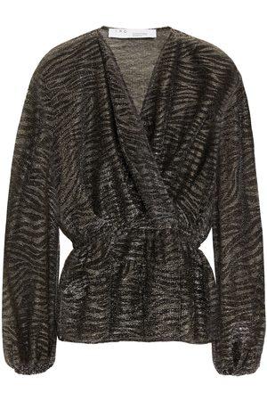 IRO Woman Maryle Wrap-effect Metallic Knitted Blouse Dark Size 36
