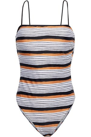 VIX PAULA HERMANNY Woman Ava Suri Lace-up Striped Swimsuit Size L