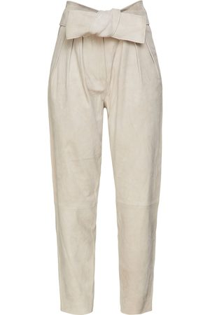 IRO Woman Ebiel Belted Suede Tapered Pants Light Size 34