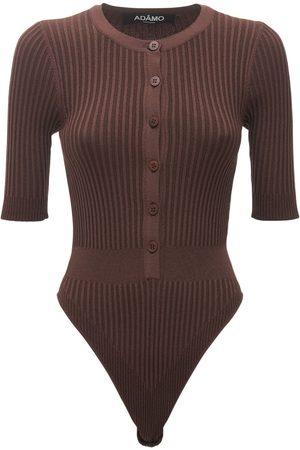 ANDREA ADAMO Viscose Blend Rib Knit Bodysuit