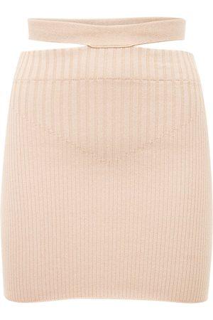 ANDREA ADAMO Women Mini Skirts - Viscose Blend Rib Knit Cutout Mini Skirt