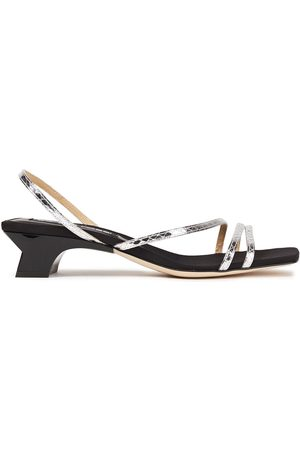 Sergio Rossi Woman Metallic Snake-effect Leather Slingback Sandals Size 35