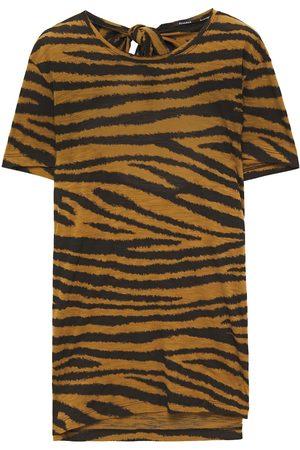 Proenza Schouler Woman Cutout Tiger-print Slub Cotton-jersey T-shirt Mustard Size L