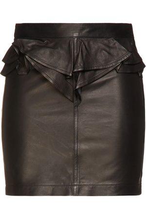 IRO Woman Calassa Ruffled Leather Mini Skirt Size 36