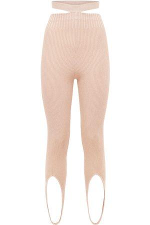 ANDREA ADAMO Viscose Blend Rib Knit Stirrup Leggings