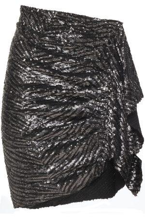 IRO Woman Aria Draped Sequined Woven Mini Skirt Size 36
