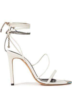 IRO Woman Hyne Embellished Suede Sandals Ecru Size 36