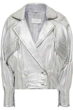 ZIMMERMANN Woman Sabotage Double-breasted Metallic Textured-leather Biker Jacket Size 0