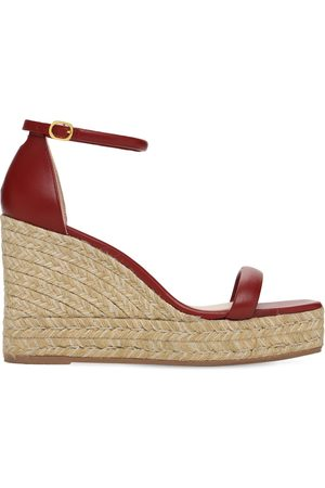 Stuart Weitzman Women Sandals - 80mm Nudist Leather Espadrille Wedges